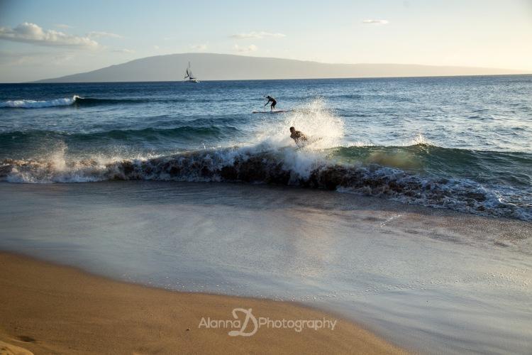 Sunset Surfers at Kaanapali Beach